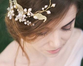 Wedding Golden Hair Vine, bridal vine, Tiara, Bridal Hair Wreath, golden headpiece