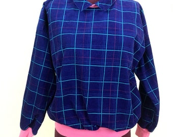 70s Vintage XS Abstract CORDUROY Pullover Sweater Collar Blue Pink Shirt