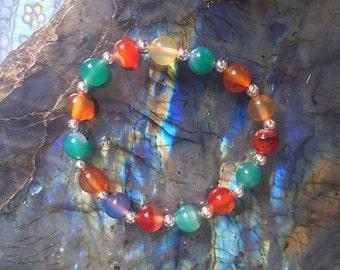 Multi-Colored Agate Stretchy Bracelet (One)-Healing-Crystal-Stone-Jewlery-Hippie-Boho-Fashion