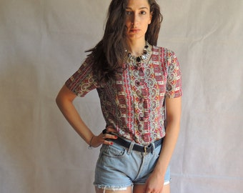 Vintage Abstract Print Short Sleeve Button Up Shirt Blouse