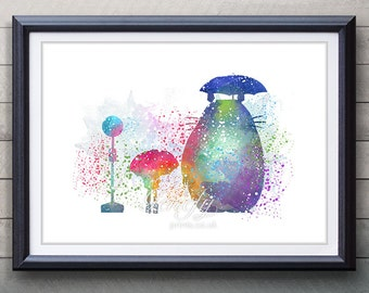 My Neighbour Totoro Studio Ghibli Watercolor Poster Print - Watercolor Painting - Watercolor Art - Home Decor - Kids Decor - Nursery Decor