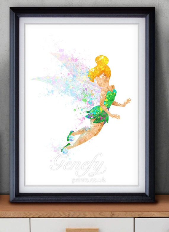 Disney Tinkerbell Fairy Watercolor Art Poster Print Wall Decor Artwork Home Decor