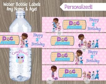 Doc McStuffins Water Bottle Label, Doc McStuffins Label, Doc Mcstuffins Bottle, Doc McStuffins Party, Doc McStuffins Birthday, Doc Labels