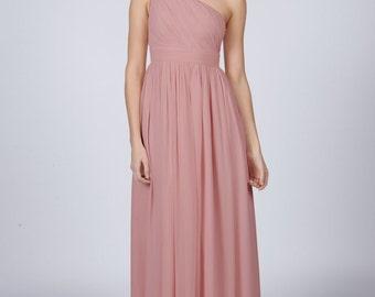 Matchimony Dusky Pink One Shoulder Long Bridesmaid/Prom Dress
