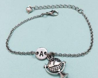 Globe charm bracelet, globe charm, world jewelry, personalized bracelet, adjustable bracelet, initial bracelet, initial charm, monogram