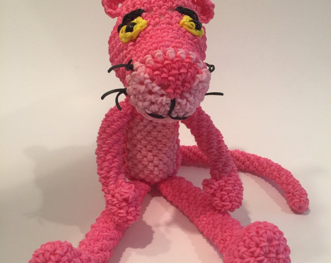Pink Panther Rubber Band Figure, Rainbow Loom Loomigurumi, Rainbow Loom Character