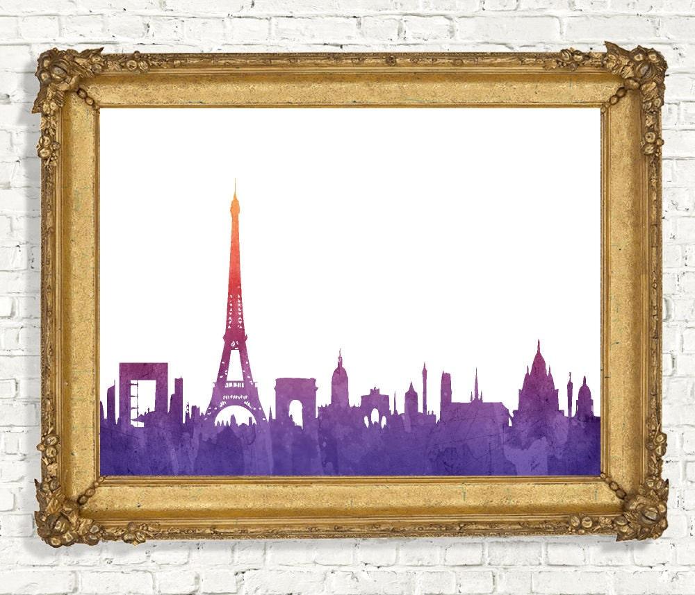 paris skyline wall art watercolor paris wall decor. Black Bedroom Furniture Sets. Home Design Ideas