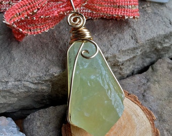 XL Healing Green Calcite, Calcite necklace, long necklace, crystal healing,witchy jewelry, boho jewelry,anxiety relief,wire wrap,raw crystal