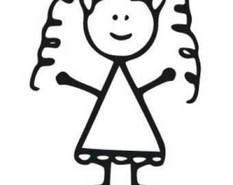 Little Girl Stick Decal, Girl Car Decal, Curly Hair Girl Decal, Stick Decal, Car Vinyl Decal, Stick Person decal, stick family, girl decal