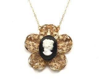 Vintage Handmade Cameo Gold Fill Pendant Necklace, Cameo Necklace, Gold Fill Necklace, Black White Cameo