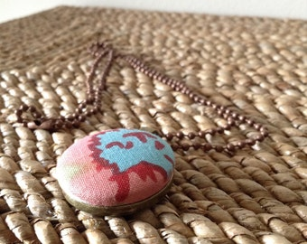 Upcycled/recycled Multi Colored fabric button pendant with copper ball chain necklace. Handmade. Cute as a button.