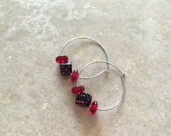 Roll the Dice and see how the night plays out. Black and Red Vegas style Dice Hoop Earrings.