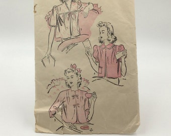 Vintage Advance Pattern 3096 Small 32-34 Bust V-Neck Jacket with Sleeves Lingerie