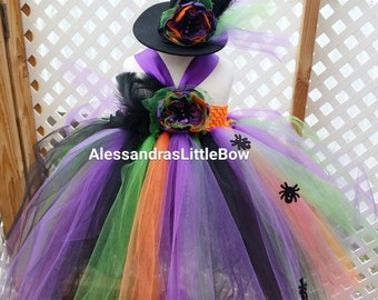 girls witch costume and witch hat, itsy bitsy Spider costume girls halloween tutus kids halloween tutu, couture costume pumpkin patch outfit