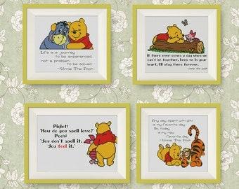 SET Winnie the Pooh cross stitch pattern, Quotes cross stitch pattern, PDF counted cross stitch pattern, Instant Download, #P224