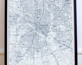 Dallas, TX  Map Poster 11x17 18x24