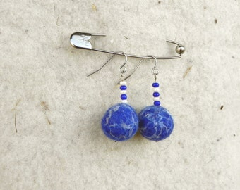 Blue ball felted earrings