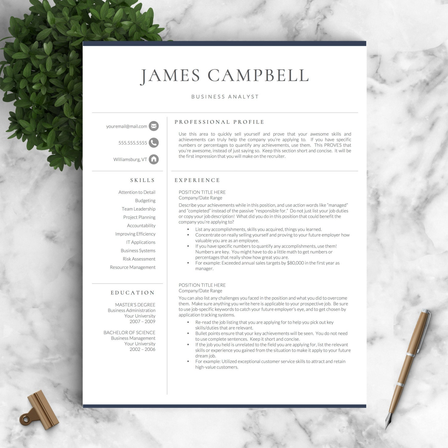resume template professional for word