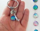Mermaid keychain, mermaid key chain, mermaid keyring, mermaid key ring, mermaid gifts, mermaid accessories, mermaid scales, starfish, shell