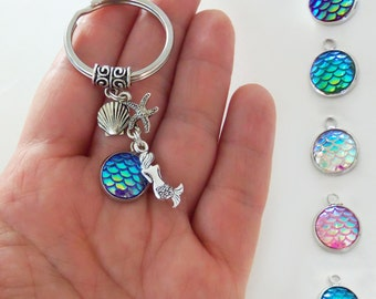 Mermaid keychain, mermaid key chain, mermaid keyring, mermaid key ring, mermaid gifts, mermaid accessories, mermaid scales, starfish, shell