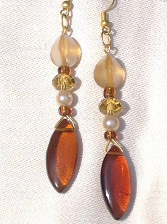 Vogue high fashion amber vintage beads pearls crystals  Dangle drop earring marquis cut cabachon  original Canadian designer T.R.Jackson