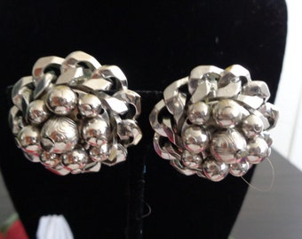 """Use Coupon 10OFF HOBE Round Silvertone Metal Beaded Earrings. The Earrings measure 1.25"""" in Diameter with Clip-On Silvertone Backs Signed."""
