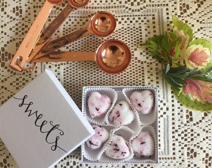 Hibiscus Flower Heart Shaped Sugar Cubes. 2 Dozen. Perfect for Tea, Coffee, Champagne, Cocktail Beverages, Lemonade.