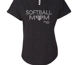 Softball Shirt. Scoop Neck Shirt. Softball Mom Shirt. Off Shoulder.Softball Bling.Custom Softball Shirt. Dolman Sleeve Shirt.
