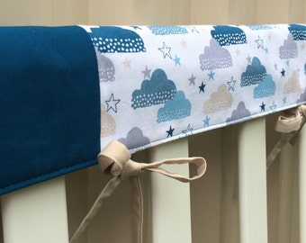 Reversible cot teething rail cover - Clouds