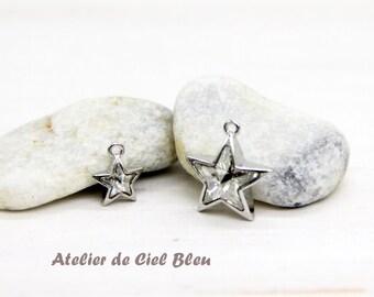 Star Charm, Silver Star Charm, Swarvoski Star Charm, Tiny Star Charm, Star Pendant, Swarvoski #4745 Star, Crystal Star Charm, Star Jewelry