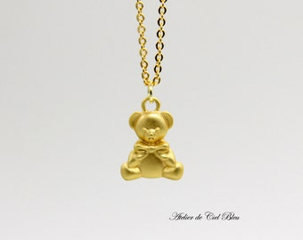 Anniversary Sale 20% - Teddy Bear Necklace - Matt Gold Teddy Bear Necklace - Cute Bear Necklace - Gold Bear Necklace - Made in Japan