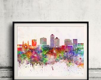 Albuquerque skyline in watercolor background - Poster Digital Wall art Illustration Print Art Decorative - SKU 2196