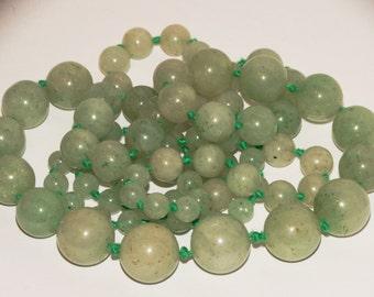"Vintage Natural Jade Jadeite Bead 36"" Necklace."
