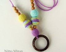 SALE Coconut ring Crochet Teething Nursing necklace Wooden beads Sling jewelry Breastfeeding mom Babywearing necklace Montessori infant toy