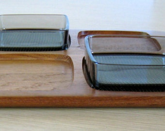 DIGSMED Staved TEAK TRAY 1964 Vintage Denmark with 2 Glass Inserts for hors d'oeuvres, condiments, relish