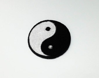 Yin Yang  Iron on Patch - Yin Yang Logo Applique Embroidered Iron on Patch  Size 4.1 cm