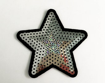 Silver Star Sequin Iron on Patch (M) - Sequin Star,Glitter Applique Iron on Patch - Size 7.0x7.0 cm