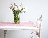 Rose Pink Natural Linen Table Runner