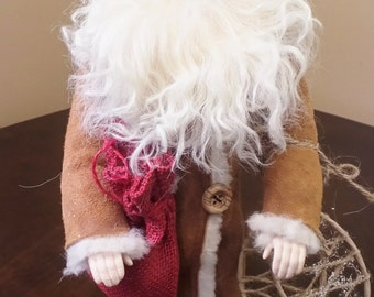 Handmade Christmas Decoration, Sheepskin Coat, Gift For Him, Santa Doll, Christmas Ornament, Christmas Gift, Father Christmas