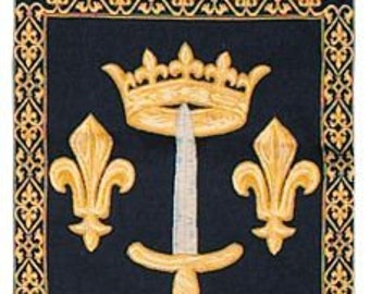 belgian gobelin chenille wall tapestry hanging Fleur de Lys sword and crown with loops jacquard woven