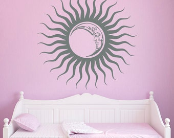 Crescent Sun Moon Wall Decal Ethnic Dual Night Symbol Sun And Moon Wall Decals Art Home Interior Decor Bedroom Dorm Nursery Living Room C052