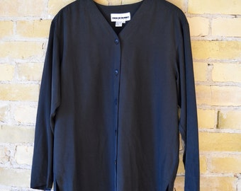 JIMMY & COMPANY 100% Silk Button Loose Fitting Long Sleeved Blouse
