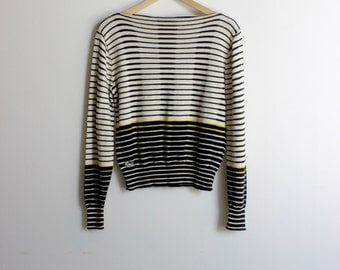 LACOSTE and IZOD Vintage Striped Black White and Yellow Pullover Sweater