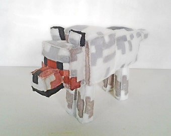 Minecraft made of felt (unofficial) made by custom Wolf Plush
