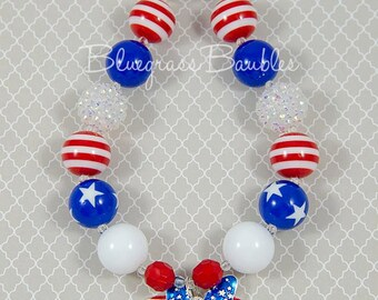 Children's July 4th Minnie Mouse Inspired Chunky Bubblegum Necklace, Minnie Mouse, Minnie Mouse Necklace, Minnie Chunky Necklace,4th of July