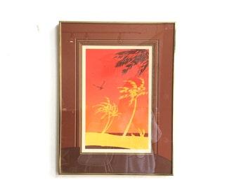 Vintage Framed Serigraph Art / Palm Tree Framed Art / Original Signed Artwork / Tropical Island Wall Art / Red Orange Yellow Sandy Beach