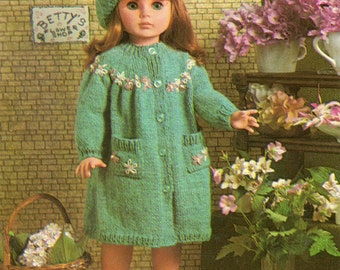Dolls Clothes Knitting Pattern - Coat and Beret Hat