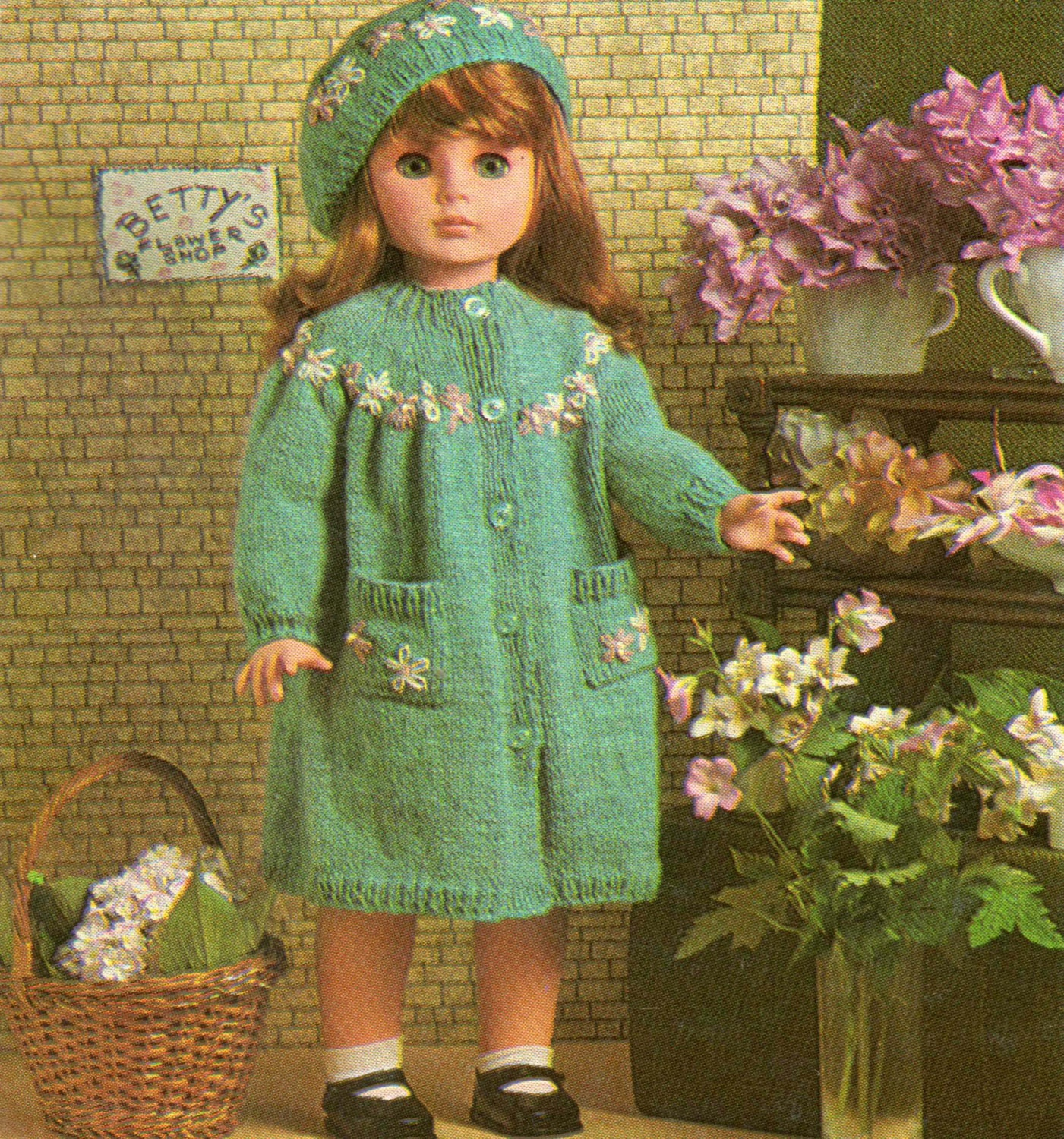 Dolls Clothes Knitting Pattern Coat and Beret Hat