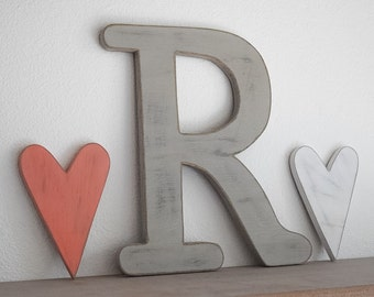 "Wooden letters - Shabby Chic, Cottage, Distressed - Rustic wooden letters - 12"" tall"