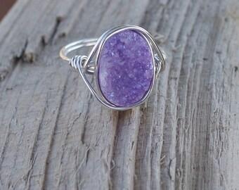 Purple Druzy Ring, Druzy Ring, Purple Druzy Wire Wrapped Ring